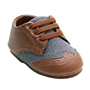 Kuner Baby Boys Brown Pu Leather +Canvas Rubber Sole Outdoor First Walkers Shoes (13.5cm(12-18months))