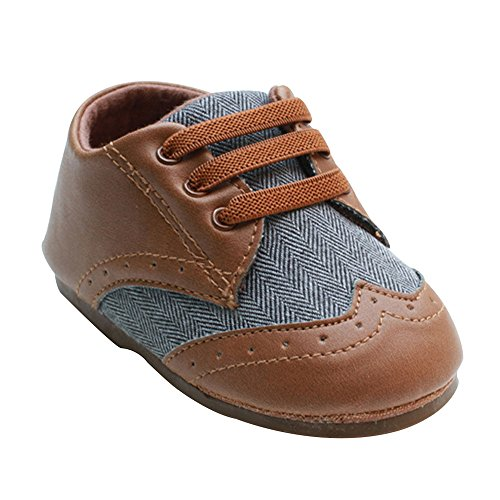 Baby Dress Suits (Kuner Toddler Baby Boys Brown Pu Leather +Canvas Rubber Sole Outdoor First Walkers Shoes (12.5cm(9-12months)))