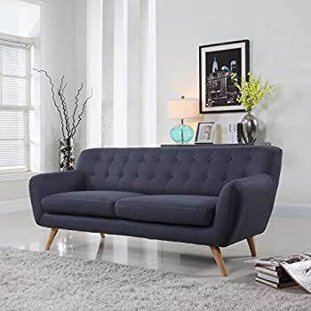 Ordinaire This Item Mid Century Modern Style Sofa / Love Seat Red, Grey, Yellow, Blue    1 Seat, 2 Seat, 3 Seat (Grey Blue, 3 Seater)