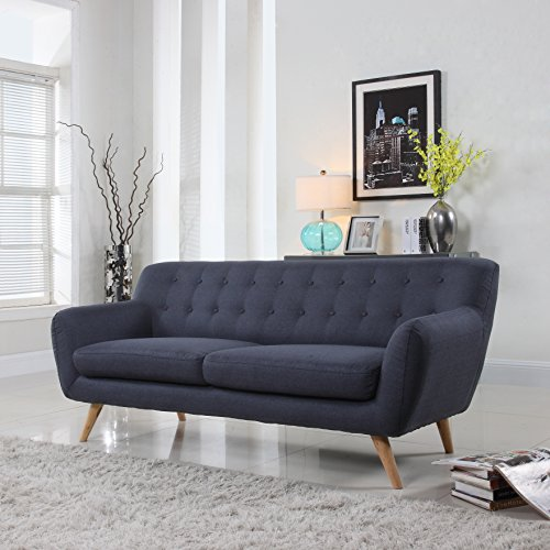 Mid Century Modern Style Sofa / Love Seat Red, Grey, Yellow, Blue - 1 Seat, 2 Seat, 3 Seat (Grey Blue, 3 Seater)