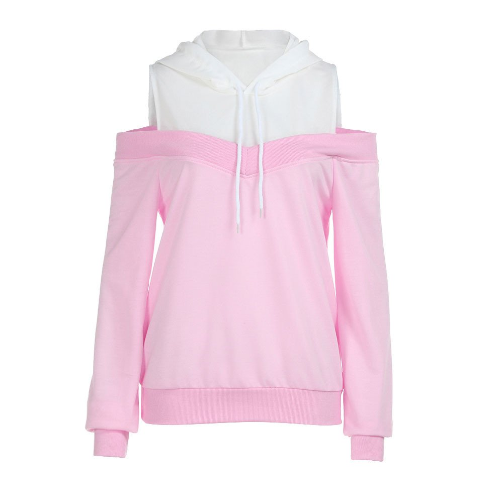 Hoodie Sweatshirt for Women Sexy,Wugeshangmao Girls Casual Long Sleeve Patchwork Off Shoulder Tops Blouses T-Shirts Pink