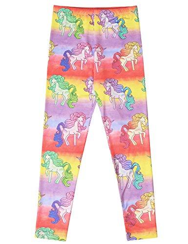 Jxstar School Pants Yoga Pants For Girls Paw Patrol Pants Light up Pants Ankle Length Leggings School Girl Leggings Rainbow Unicorn 140