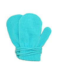 Dorfman Pacific Toddler Stretch Mittens on a String, Turquoise