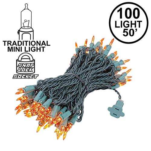 Novelty Lights 100 Light Amber Christmas Mini String Light Set, Green Wire, Indoor/Outdoor UL Listed, 50' Long