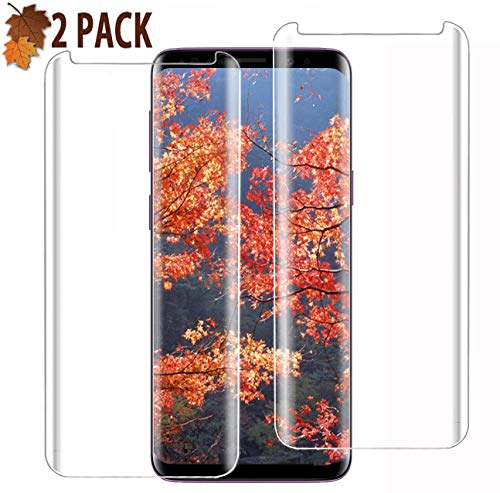 Galaxy S9 Screen Protector [2 Pack], S9 Tempered Glass Screen[Anti-Scratch] [High Definition] [Bubble Free] [Anti-Fingerprint] Tempered Glass Screen Protector for Samsung Galaxy S9 (5.8'')(NOT S9PLUS)
