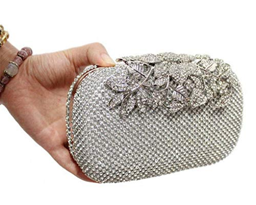 Flower Crystal Women Clutch Luxury Diamond Gold Evening Bags Wedding Handbag Rhinestones Party Purse silver