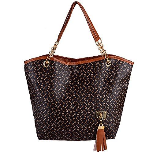 Women faux suede tote bags handbag big size(Brown) - 3