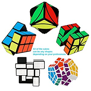 Tresbro Qiyi Rubix Cube Game, Brain Teasers Magic Cubes Set Gift for Kids, Adults, Teens, Speed Puzzle Cubing Toys of 5 Pack FengYe Lvy Skewb, Megaminx, Mirror Cube, 2x2x3 Cuboid, SQ-1