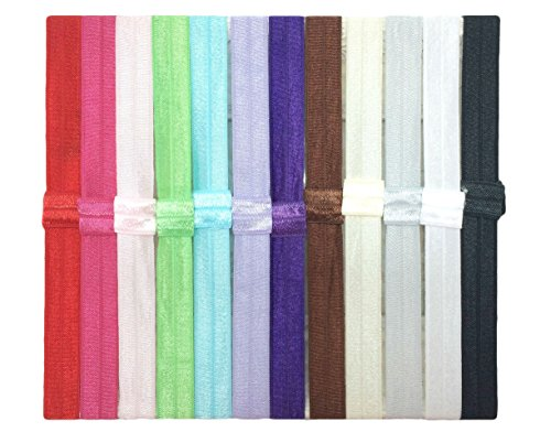 12 FOE Satin Foldover Elastic Wholesale Lot Interchangeable Loop Headbands