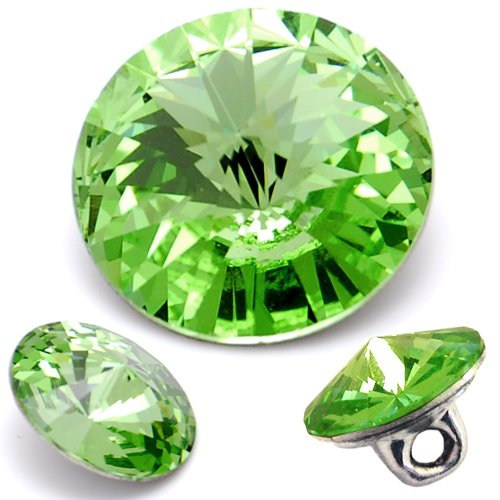 - Swarovski 1122 Rivoli Button 12mm Peridot by 2 pcs
