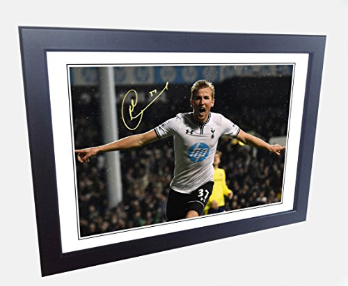 Signed 12x8 Black Soccer Harry Kane Tottenham Hotspur Spurs Autographed Photo Photograph Football Picture Frame Gift A4 by kicks