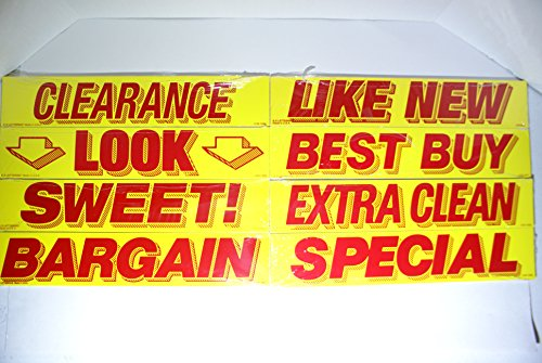 Great Link Vinyl Windshield Slogan Car Window Sale Stickers 8 Dozen Pack Bundle Dealer Lot Red & Yellow Sticker Set (Variation 1)