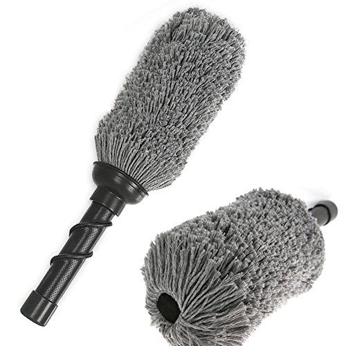Antibacterial Oil-coated Cotton Best Car Cleaning Duster Brush/ Interior Exterior/Pollen removal, Crevice cleaning, Household, Office, Multipurpose cleaner/ Lightweight and easy to store (Black) -