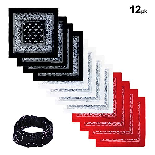 Basico 100% Cotton Head Wrap Bandanas 12 Pack with Tube Face Mask/Headband (Black/ White/ Red)