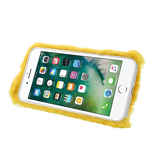Rabbit Shape Warm Fur TPU Cellphone Tasche Hüllen Schutzhülle - Case für iPhone 7 Plus 5.5 inch - Yellow