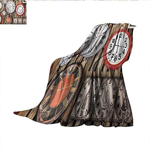 Clocksmall blanketAntique Clocks on The Wall Instruments of Time Vintage Design Pattern Artworkthin Blanket 50