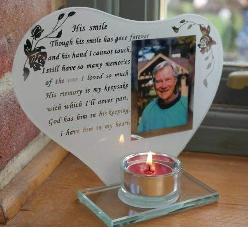 His Smile Memorial Poem /& Photo Candle Holder