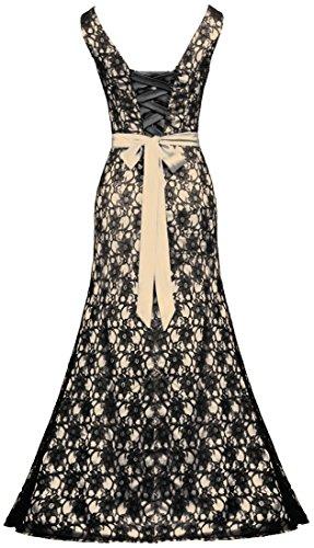 Party V Champagne Women's Black Wedding Neck Gown Long Dress ANTS Lace TpwPFqx77