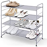 Simple Trending 4-Tier Stackable Shoe Rack, Expandable & Adjustable Shoe Shelf Storage Organizer, Metal Mesh