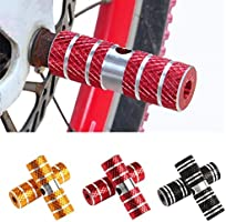 Black Bike Foot Pegs Aluminum Alloy Bicycle Foot Pole Stand Foot Column Mountain for Mountain Bikes Passengers Cycling 2Pcs
