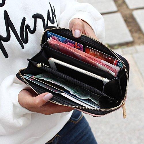 Chat Fille Porte Bourse Etui Zipper Porte PU Cartoon Cute pour Rose Longue Cartes Cadeau Monnaie Cuir Plusieurs Cartes Fille Femme Hrph XqpEzwq