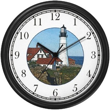 Maine Light House / Lighthouse Wall Clock by WatchBuddy Timepieces (White ()