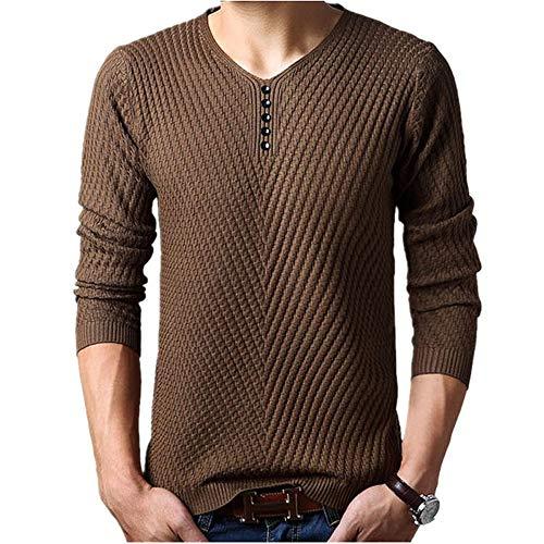 DeReneletrc Men's Henley Neck Cashmere Pullover Christmas Kn