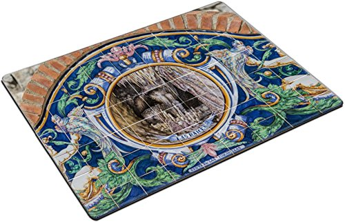 MSD Place Mat Non-Slip Natural Rubber Desk Pads design 34382027 Close up view of azulejo tiles depicting the Aracena caves in Spain by MSD