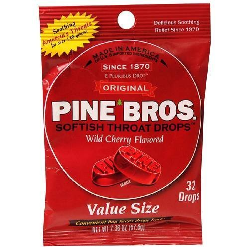 Pine Bros. Softish Throat Drops Value Pack, Wild Cherry 32 ea(pack of 2) by Pine -