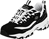 Skechers Sport Women's D'Lites Lace-Up Sneaker, Black/White,8.5 M US