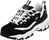 Skechers Sport Women's D'Lites Lace-Up Sneaker, Black/White,8.5 M US