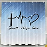 HUANGLING Faith Hope Love Shower Curtain 60x72inch