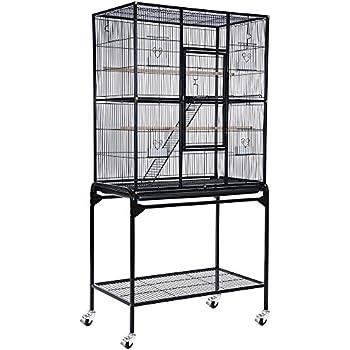 Yescom Bird Parrot Cage Overall Size Chinchilla Sugar Glider Cockatiel Supplies(Black)