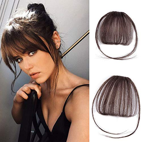 Stamped Glorious Clip in Bangs Hair Extensions Human Hair Bangs Clip in Fringe Bangs Human Hair Flat Air Bangs with Temple for Women One-piece Hairpiece (Color: Dark Brown)