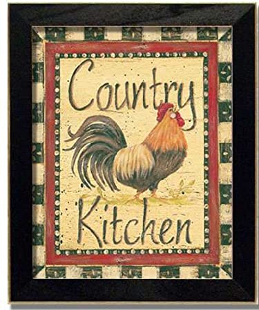 Country Kitchen Rooster Framed Art Print Decor