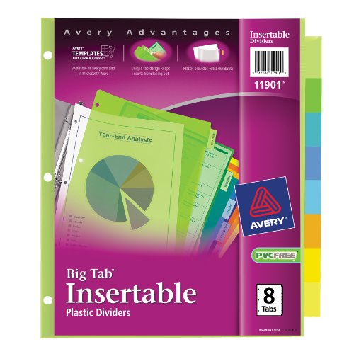 Avery  Big Tab Insertable Plastic Dividers  8-Tabs 1 Set (11901)