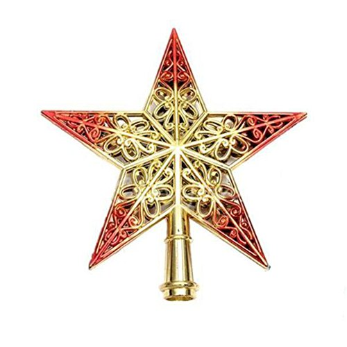 Awtang Red Christmas Tree Top Topper Star Xmas Decorative Ornament