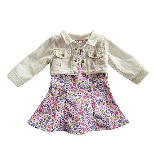 Dress Up Dolls Clothes (18 Inch AG Doll Clothes,Trendy Floral Print Dress with Cropped Short Jacket for American Girl Style 18
