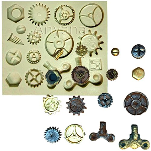 [Anyana Steam Punk Silicone Cake decorating Mold Cogs Gear Screw Fondant chocolate mould Cupcake Cooking Tool icing baking] (Steampunk Decorations)