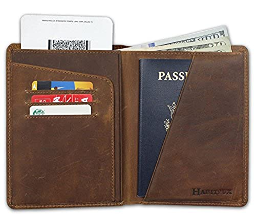 03. RFID Blocking Passport Holder Travel Wallet - Genuine Crazy Horse Leather