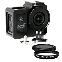 SJ4000 Aluminum Alloy Protective Case with 40.5mm UV Filter & Lens Protective Cap for SJCAM SJ4000 Series(Black)