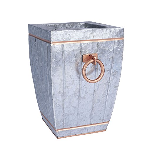 Household Essentials Square Galvanized Metal Accent Vase, Silver with Copper Trim, 12.125
