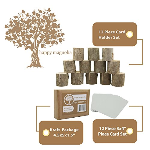 Happy Magnolia 12 Pack Wooden Place Card Holders With Bonus 12 Place Cards For Wedding Home Business Birthday Party Decorations Table Numbers Made From All Natural Hardwood by Happy Magnolia (Image #5)