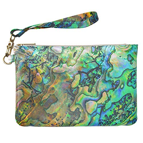 7bf0de64b784 Lex Altern Makeup Bag 9.5 x 6 inch Abalone Nature Pearl Green Abstract Art  Iridescent Travel PU Leather Case Toiletry Women Zipper Bathroom Strap ...