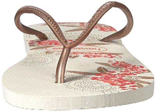 Flop Slim Sandals Floral Design Rose Organic Women's Gold Havaianas Flip wB5AqI5p