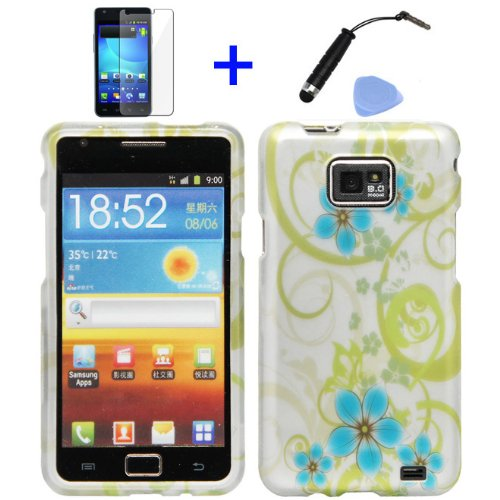 ((4 items Combo: Stylus Pen, Screen Protector Film, Case Opener, Graphic Case) Silver Green Vine Blue Hawaiian Flower Design Rubberized Snap on Hard Cover Faceplate Skin Phone Case for (AT&T Version) Samsung Galaxy S2 / SII / II / 2 / SGH-i777 / i9100)
