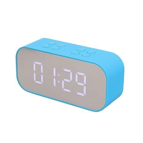 Hemobllo Reloj LED Inalámbrico Bluetooth Altavoz Espejo ...