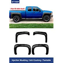 """Tyger Auto TG-FF8C4068 For 2007-2014 Chevy Silverado (NOT For 68"""" Short Bed)   Smooth Matte Black Paintable Pocket Bolt-Riveted Style Fender Flare Set, 4 Piece"""