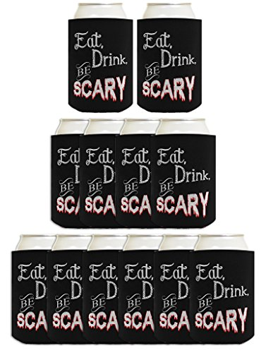 Funny Halloween Beer Coolie Eat Drink Be Scary Halloween Party Costume Accessory 12 Pack Can Coolie Drink Coolers Coolies -