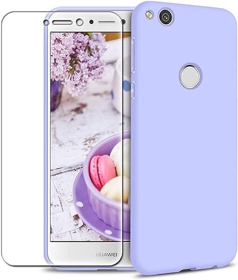 Funda Huawei P8 Lite 2017 + Protector de Pantalla de Vidrio Templado, Carcasa Ultra Fino Suave Flexible Silicona Colores del Caramelo Protectora Caso Anti-rasguños ...